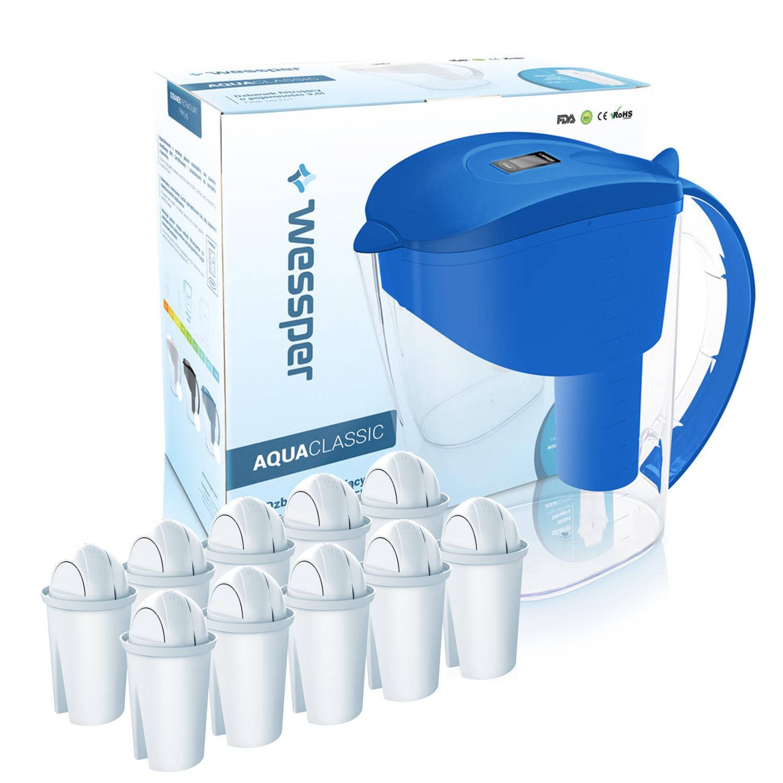 Dzbanek filtrujący Wessper AquaClassic 3,5l niebieski +10 wkładów