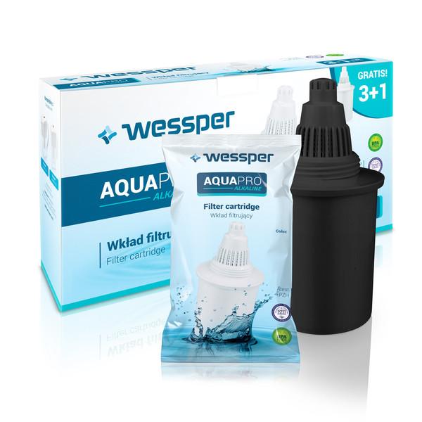 Wkład filtrujący do dzbanka Wessper Aquapro Alkaline czarny 4 sztuki