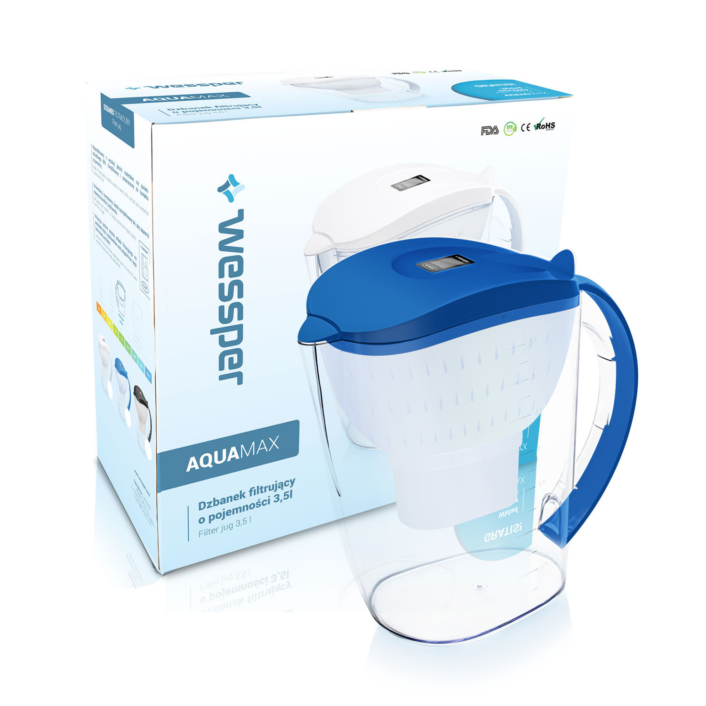 Dzbanek Wessper AquaMax 3,5L w kolorze niebieskim z zestawem 4 filtrów Wessper AquaMax