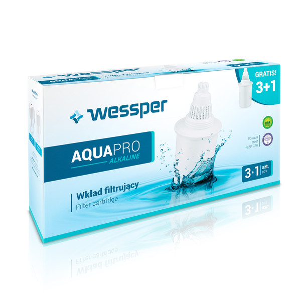 Wkład filtrujący do dzbanka Wessper Aquapro Alkaline biały 4 sztuki